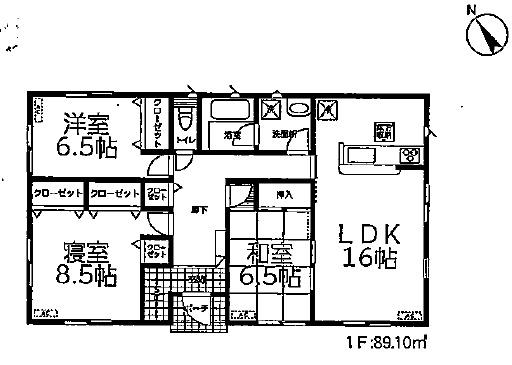 3号棟 3LDK+SIC 生活しやす平屋建てです。シューズインクロークで玄関まわりもすっきり片付きます。