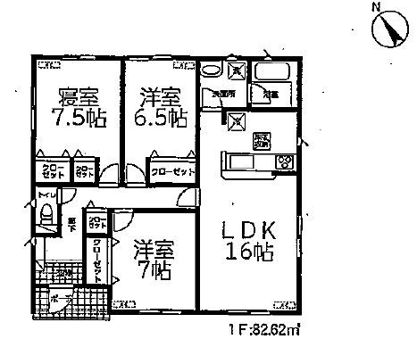 4号棟 3LDK 全室洋室の平屋建てです。お掃除もラクラクですね。