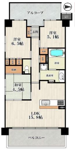 中古マンション 3LDK 専有面積:70.24平米(壁芯)バルコニー面積:11.4平米 南向き