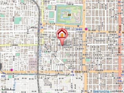 【地図】オーバルコート京都三条通