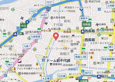 【地図】プレサンス北堀江