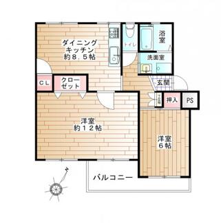 2DK、価格950万円、専有面積57m2、バルコニー面積6.82m2 最上階につき、陽当り・通風良好