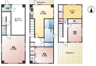 岐阜市長良 中古住宅 インナーガレージ付き♪お車スペース3台可能!3階建て!南側に広々バルコニーあり