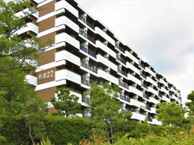 全室南向きの8階建です。 緑に囲まれた住環境で、北側には遊歩道が有り、散策を楽しめます。
