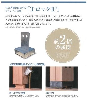 【TロックII】はオリジナル柱頭・柱脚固定金物であり、柱固定金物のなかでも非常に高い性質をもつ「ホールダウン金物(HD20)」の約2倍の強度があり、短期基準引抜耐力40.3kNの評価を受けています。