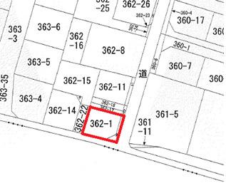 【土地図】坂戸市花影町 建築条件なし売地 「坂戸駅」徒歩12分