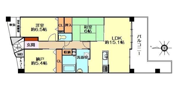 「間取り図」ゆとりある2SLDKのお部屋です。室内リノベーション工事済で大変綺麗です♪