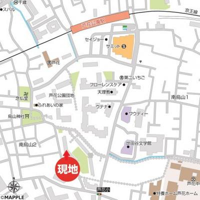 現地案内図です。京王線「芦花公園駅」まで徒歩5分、便利な立地です。