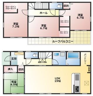 碧南市築山町20-1期新築分譲住宅1号棟間取です。4LDKの1号棟は3か所のウォークインクローゼットとパントリーのある間取りです。