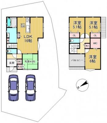 駐車2台並列駐車可能なゆったりとした敷地(延床92.34㎡ 参考価格1,500万円)