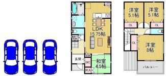 参考プラン図(延床92.34m2)建物参考価格:1650万円