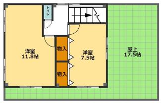 2階の間取りです。 広い屋上で、横浜市街の風景を眺めながら、バーベキューや読書など楽しめます♪
