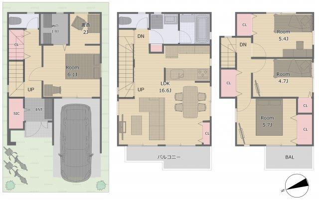 全居室収納付き!人気の2階水回りの4LDK♪(参考間取りにつき変更可能です!)