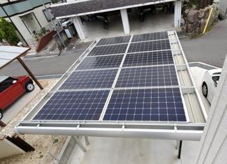 屋根・カーポートに太陽光パネル搭載済です