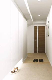 玄関にはシューズボックスもあり、靴もスッキリ片付きます。(イメージパース)