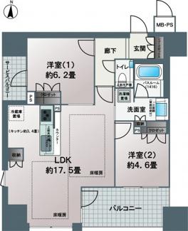 広々としたリビングが特徴の2LDKに仕様変更!!角住戸なので、通風良好なお部屋です。