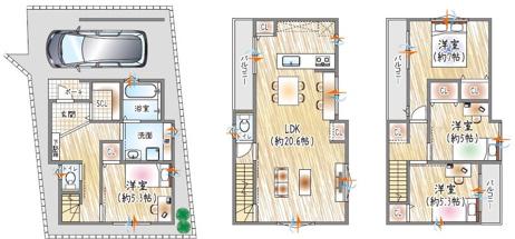 【13号地参考プラン例】 3階建て×4LDK×SIC シューズ類はもちろん、ベビーカーやゴルフバッグなどをすっきりとしまえる、シューズインクローゼット♪