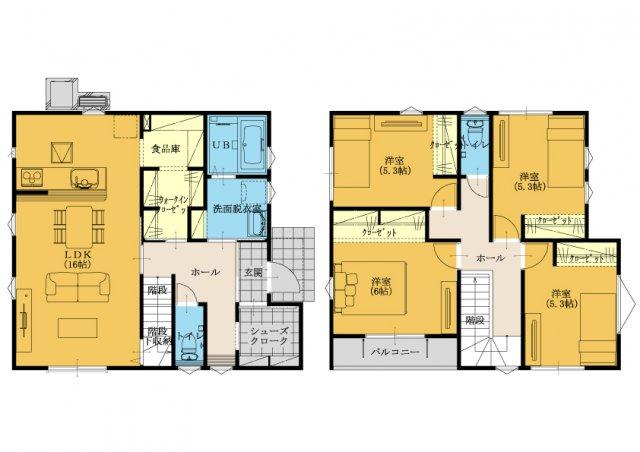 4SLDKです(^_-)-☆1階に大容量の収納を設計しています。生活動線を考えられた間取り設計☆