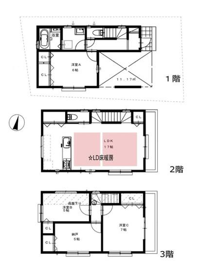 土地面積73.48平米 建物面積108.05平米 4LDK! 収納付きの使い勝手の良い間取りです!