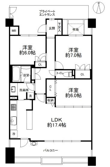 3LDK、価格3880万円、専有面積82.01㎡、バルコニー面積16.39㎡