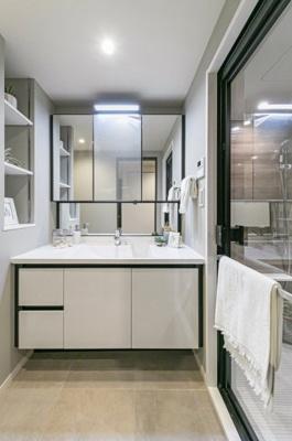 収納豊富な洗面スペース。