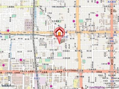 【地図】第17長栄シャルマン四条大宮壱番館