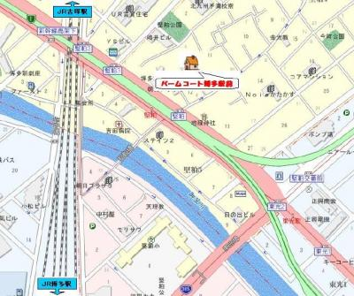 【地図】パームコート博多駅前