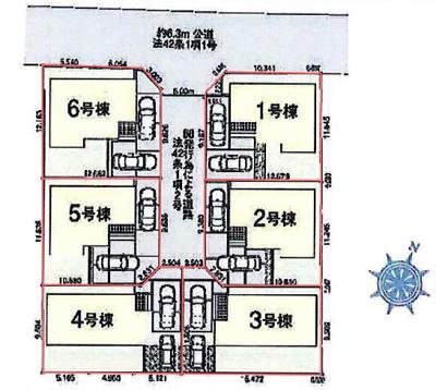【区画図】鴻巣市滝馬室 新築一戸建て分譲全6棟