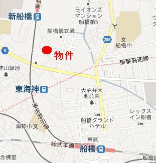 【地図】コーポ新船橋A
