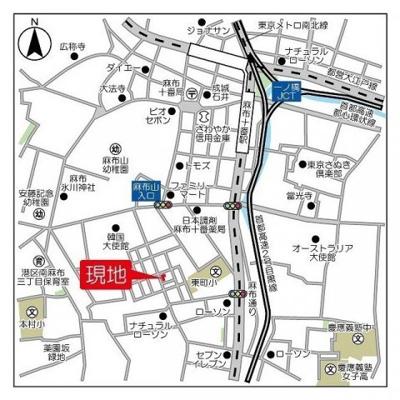 【地図】アストリア南麻布