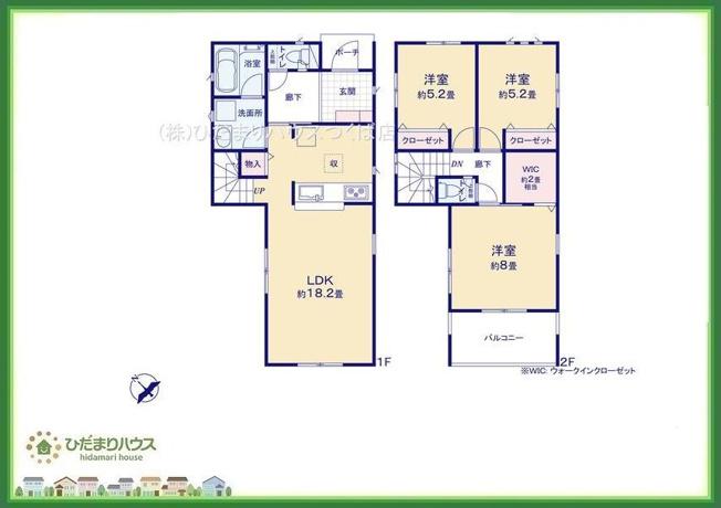 8帖の広々寝室には大容量W.I.C付き(^^♪