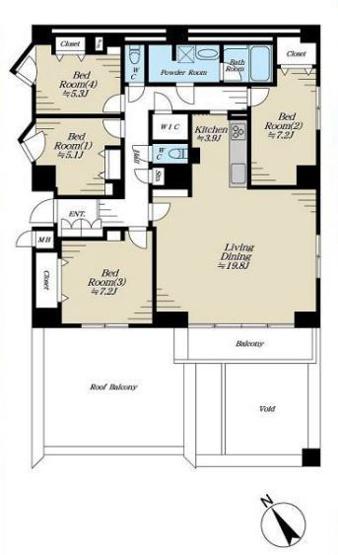専有面積117.75平米 4LDK! 各室収納付きの使い勝手の良い間取りです!