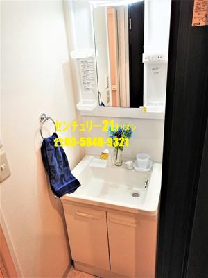 脱衣所を兼ねた独立洗面台です