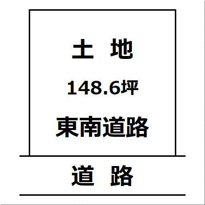 【土地図】大仙市協和の東南向き整形住宅地 峰吉川駅徒歩220m 半仙住宅分譲団地の148.6坪