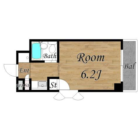 形のキレイなお部屋 このお部屋限定でルーフバルコニー付きで開放的です