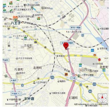 【地図】八王子市北野町 準工業地域 古家有 売地