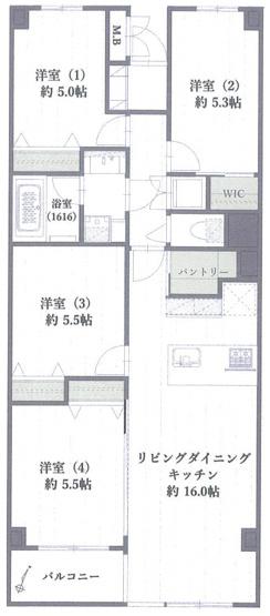 4LDK+WIC+パントリ― 収納たっぷり 東南向きバルコニー 専有80㎡超