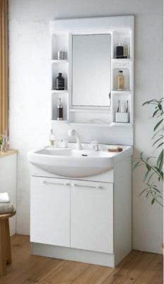 洗面台 実用的に収納できる2枚扉 ストックしておきたい高さのあるものから小 物まで幅広く収納することができます。