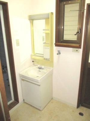 シャワー付き洗面化粧台。