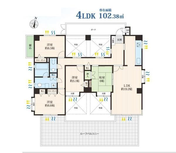 専有面積102.38平米 4LDK! 各室収納付きの使い勝手の良い間取りです!