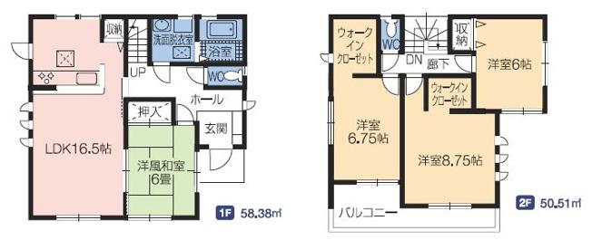 1号棟 4LDK+WIC 全室南向きの明るいおうちです。大型のクローゼット2ヶ所、ご夫婦分けて使えます。