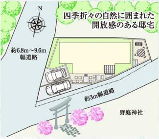 東南側約3m道路に接道、西側約6.8m~9.6m道路に接道