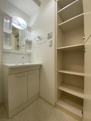脱衣所、洗面所にも収納があるので、タオルや衣類洗剤のストックできます。