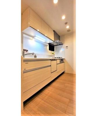 食洗機付きシステムキッチンですので食器の片付けもお手入れも楽々。