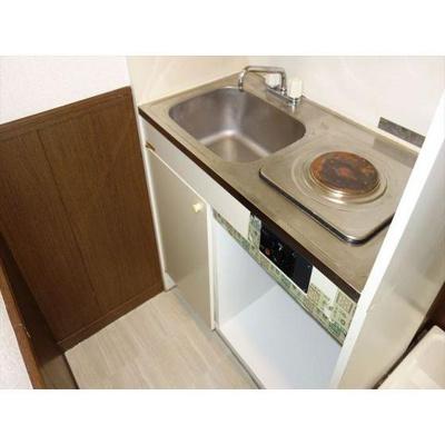 最小限のスペースのキッチン。