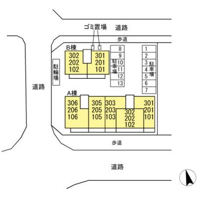 【区画図】アンソレイエ A棟