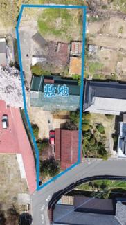 青の線内が売買対象敷地です。1084.60平米(328坪の広々敷地)
