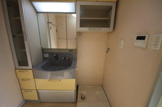 意外と散らかりがちな洗面スペースを片づける工夫がたくさん! 洗面台の鏡裏収納だけでなく、つくりつけの棚もあるので、洗剤や洗面小物をたっぷり収納できます