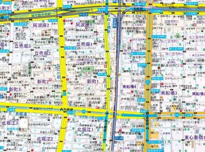 【地図】エスパシオ・コモド大阪新町