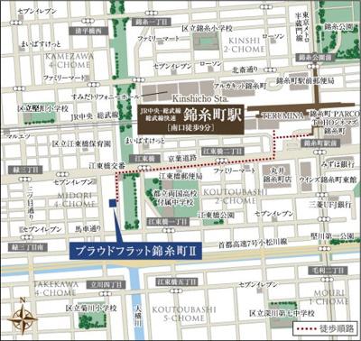 【地図】プラウドフラット錦糸町Ⅱ